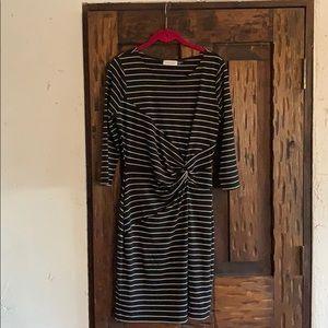 Horizontal black, white striped dress with knot